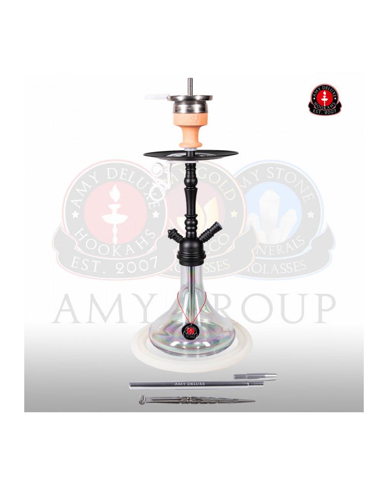 Amy Deluxe® 056R Middle Globe Rainbow Clear Shisha / Hookah
